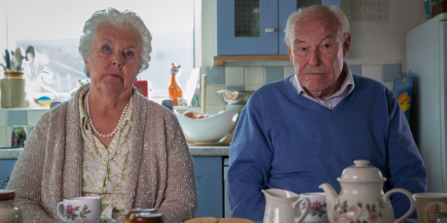 Broken Biscuits. Image shows from L to R: Pearl (Stephanie Cole), Milton (Timothy West). Copyright: Jellylegs.