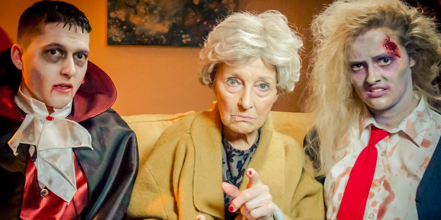 The Candy Gran. Image shows from L to R: Teen (Michael Stranney), Gran (Stella McCusker), Teen (Aimee Richardson).