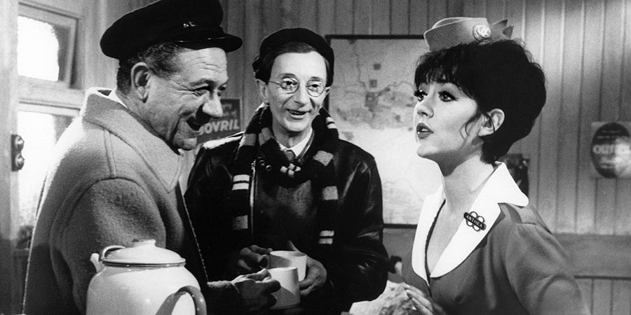 Carry On Cabby. Image shows from L to R: Charlie Hawkins (Sid James), Terry 'Pintpot' Tankard (Charles Hawtrey), Anthea (Amanda Barrie). Copyright: Peter Rogers Productions / Studio Canal.