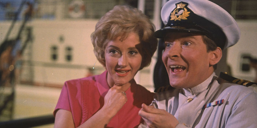Carry On Cruising. Image shows from L to R: Gladys 'Glad' Trimble (Liz Fraser), First Officer Leonard Marjoribanks (Kenneth Williams).