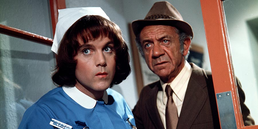 Carry On Matron. Image shows from L to R: Cyril Carter (Kenneth Cope), Sid Carter (Sid James). Copyright: Peter Rogers Productions.