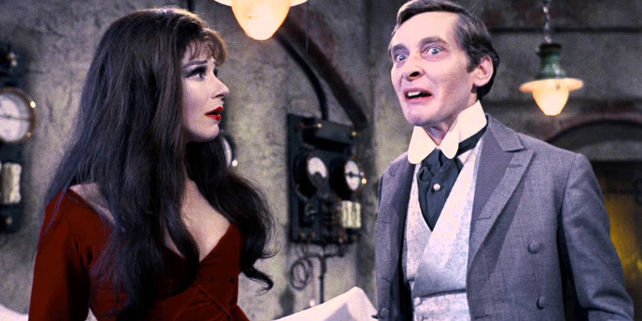 Carry On Screaming!. Image shows from L to R: Valeria Watt (Fenella Fielding), Dr Orlando Watt (Kenneth Williams). Copyright: Peter Rogers Productions.
