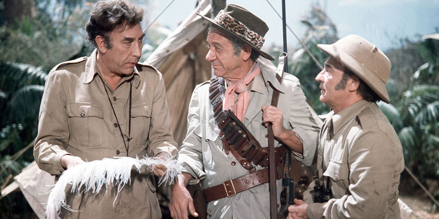 Carry On Up The Jungle. Image shows from L to R: Prof. Inigo Tinkle (Frankie Howerd), Bill Boosey (Sidney James), Claude Chumley (Kenneth Connor). Copyright: Rank Organisation / Peter Rogers Productions.