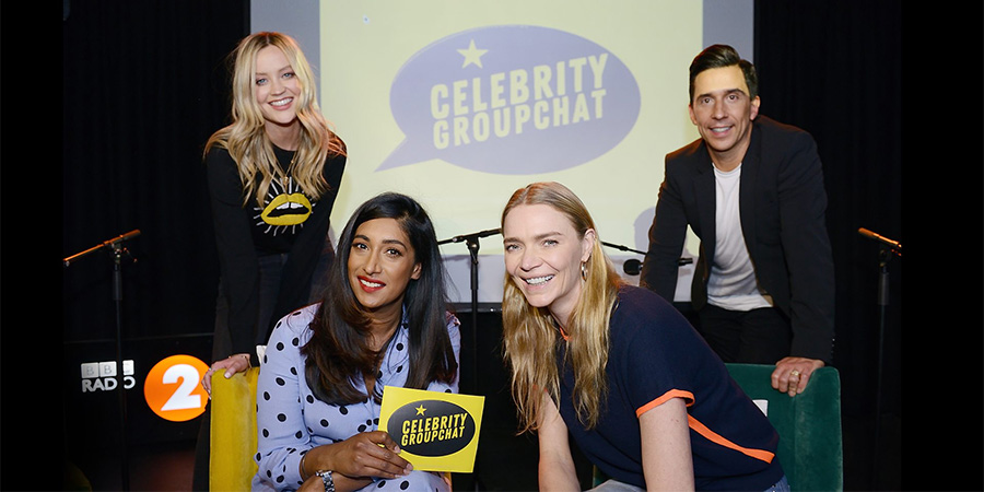 Celebrity Groupchat. Image shows from L to R: Laura Whitmore, Tina Daheley, Jodie Kidd, Russell Kane. Copyright: Lime Pictures.