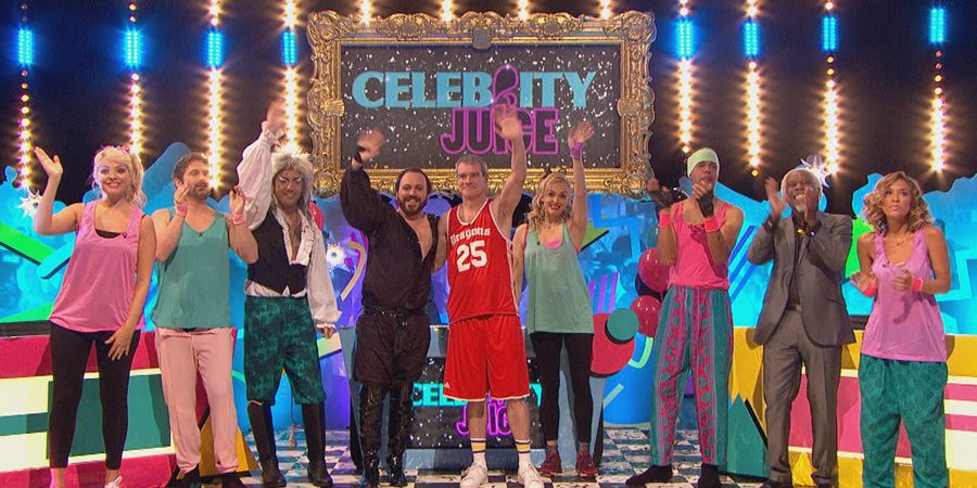 Celebrity Juice. Image shows from L to R: Holly Willoughby, Zach Galligan, Gino D'Acampo, Leigh Francis, Mark Arnold, Fearne Cotton, Chris Kamara, Billy Ocean, Myleene Klass. Copyright: Talkback.