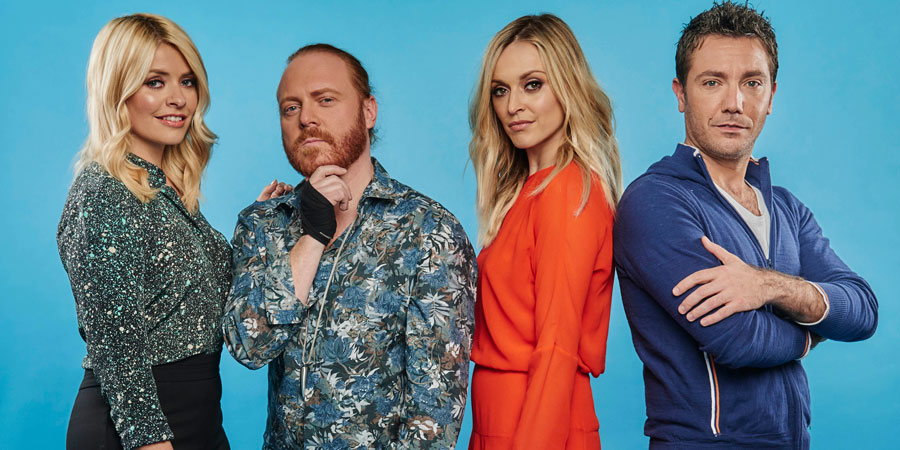 Celebrity Juice. Image shows from L to R: Holly Willoughby, Leigh Francis, Fearne Cotton, Gino D'Acampo. Copyright: Talkback.