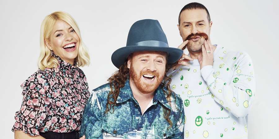 Celebrity Juice. Image shows from L to R: Holly Willoughby, Leigh Francis, Paddy McGuinness.