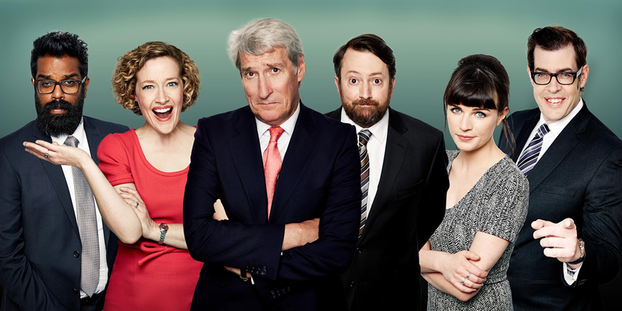 Channel 4's Alternative Election Night. Image shows from L to R: Romesh Ranganathan, Cathy Newman, Jeremy Paxman, David Mitchell, Aisling Bea, Richard Osman. Copyright: Zeppotron.