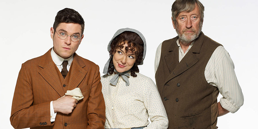 Chekhov: Comedy Shorts. Image shows from L to R: Lomov (Mathew Horne), Natasha (Sheridan Smith), Natasha's Father (Philip Jackson). Copyright: Baby Cow Productions.