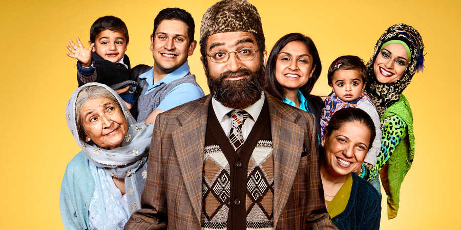 Citizen Khan. Image shows from L to R: Naani (Adlyn Ross), Amjad (Abdullah Afzal), Mr Khan (Adil Ray), Shazia (Krupa Pattani), Mrs Khan (Shobu Kapoor), Alia (Bhavna Limbachia). Copyright: BBC.