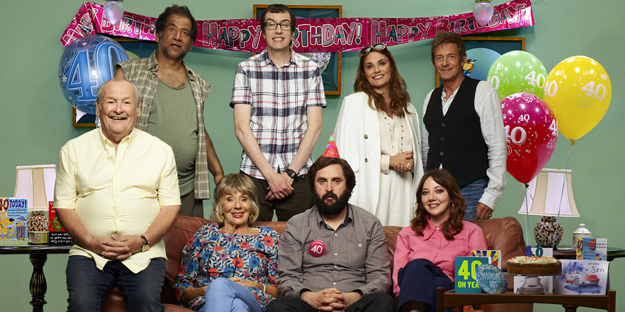 The Cockfields. Image shows from L to R: Ray (Bobby Ball), Andre (Jeff Mirza), Sue (Sue Johnston), David (Ben Rufus Green), Simon (Joe Wilkinson), Melissa (Sarah Parish), Donna (Diane Morgan), Larry (Nigel Havers).