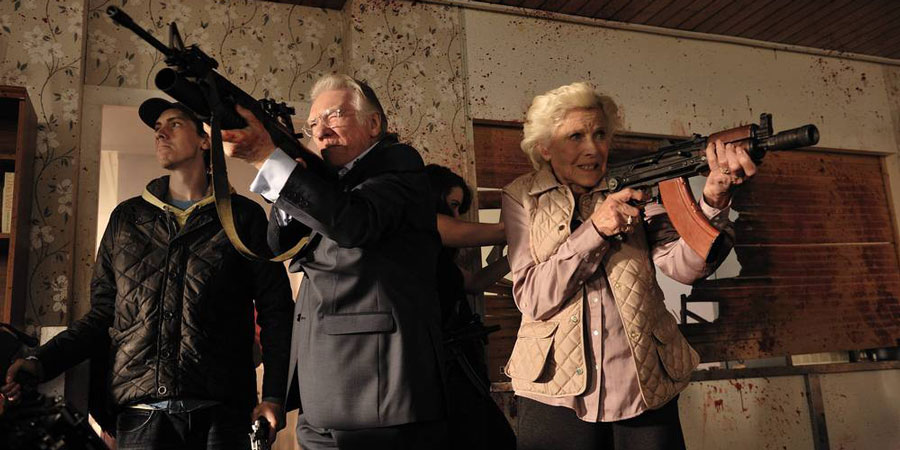 Cockneys Vs Zombies. Image shows from L to R: Terry (Rasmus Hardiker), Ray (Alan Ford), Peggy (Honor Blackman).