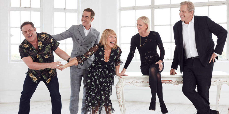 Cold Feet. Image shows from L to R: Pete Gifford (John Thomson), Adam Williams (James Nesbitt), Jenny Gifford (Fay Ripley), Karen Marsden (Hermione Norris), David Marsden (Robert Bathurst). Copyright: Big Talk Productions.