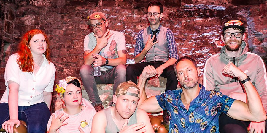 Comedian Rap Battles. Image shows from L to R: Eleanor Morton, Kirsty Morrison, Seymour Mace, Neil Bratchpiece, Will Naameh, Leo Kearse, Rob Mulholland. Copyright: BBC.