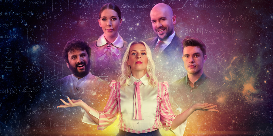 Comedians Giving Lectures. Image shows from L to R: Nish Kumar, Katherine Ryan, Sara Pascoe, Tom Allen, Ed Gamble. Copyright: 12 Yard Productions.