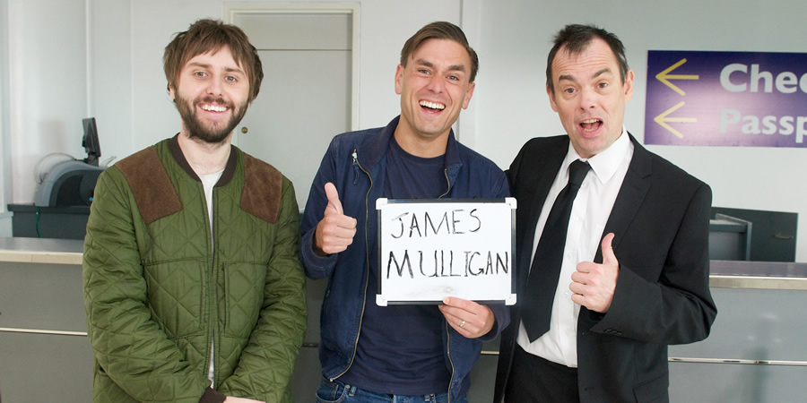 The Comedian's Guide To Survival. Image shows from L to R: James Mullinger (James Buckley), Brad Macey (James Mullinger), Nick Secker (Kevin Eldon).