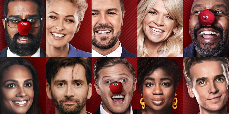 Comic Relief. Image shows from L to R: Romesh Ranganathan, Alesha Dixon, Emma Willis, David Tennant, Paddy McGuinness, Rob Beckett, Zoe Ball, Maya Jama, Lenny Henry, Joe Sugg. Copyright: BBC.