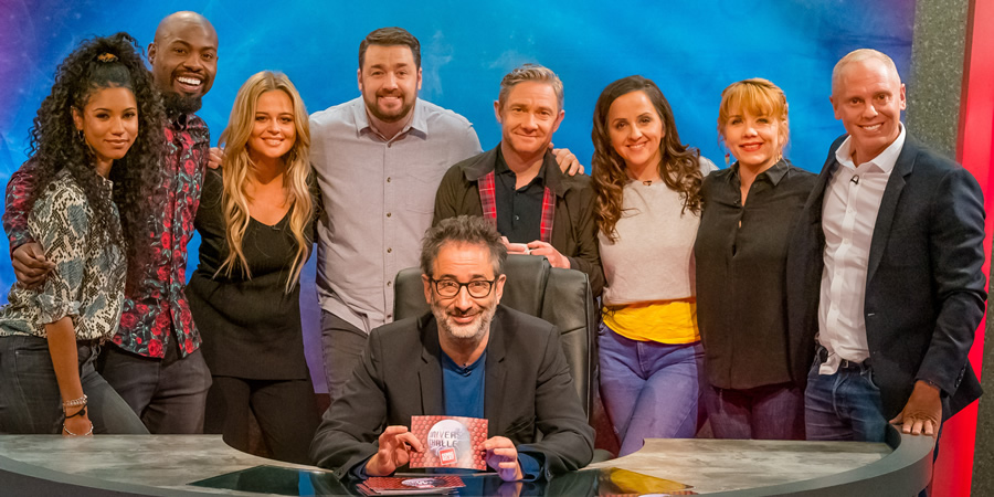 Comic Relief Does University Challenge. Image shows from L to R: Vick Hope, Darren Harriott, Emily Atack, Jason Manford, David Baddiel, Martin Freeman, Luisa Omielan, Kerry Godliman, Robert Rinder.