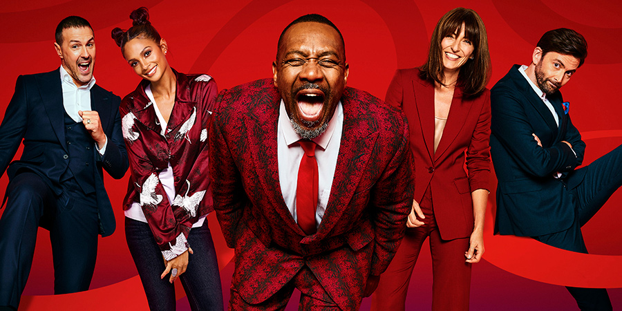 Comic Relief. Image shows from L to R: Paddy McGuinness, Alesha Dixon, Lenny Henry, Davina McCall, David Tennant. Copyright: BBC.