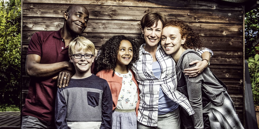 The Coopers Vs The Rest. Image shows from L to R: Toby (Paterson Joseph), Charlie (Joseph West), Alisha (India Brown), Tess (Tanya Franks), Frankie (Erin Kellyman). Copyright: BBC.