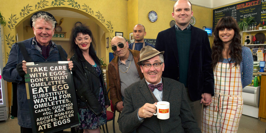Count Arthur Strong. Image shows from L to R: Eggy (Dave Plimmer), Birdie (Bronagh Gallagher), John The Watch (Andy Linden), Bulent (Chris Ryman), Count Arthur Strong (Steve Delaney), Michael Baker (Rory Kinnear), Sinem (Zahra Ahmadi). Copyright: Retort.