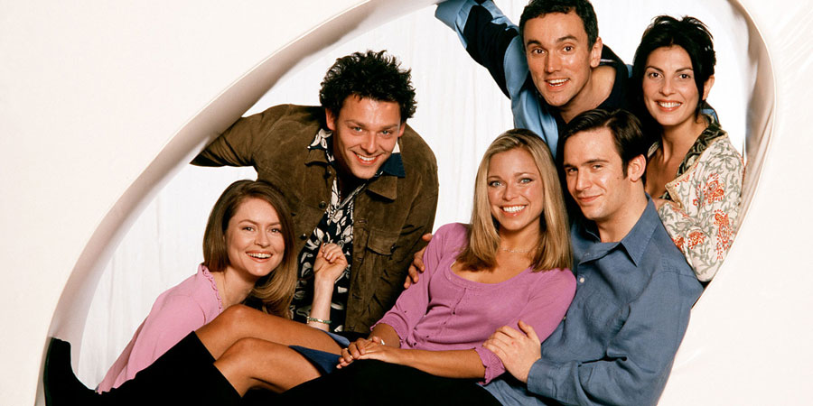 Coupling. Image shows from L to R: Sally (Kate Isitt), Jeff (Richard Coyle), Susan (Sarah Alexander), Patrick (Ben Miles), Steve (Jack Davenport), Jane (Gina Bellman). Copyright: Hartswood Films Ltd.