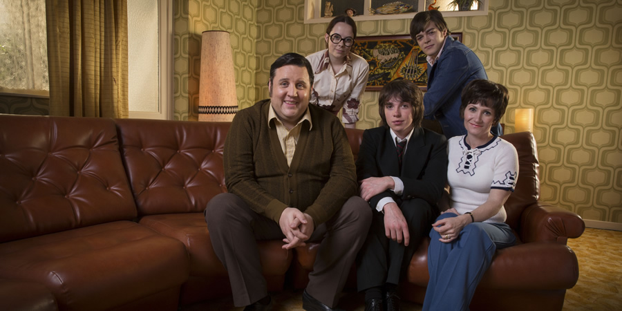 Cradle To Grave. Image shows from L to R: Fred 'Spud' Baker (Peter Kay), Sharon Baker (Alice Sykes), Danny Baker (Laurie Kynaston), Michael Baker (Frankie Wilson), Bet Baker (Lucy Speed). Copyright: ITV Studios.