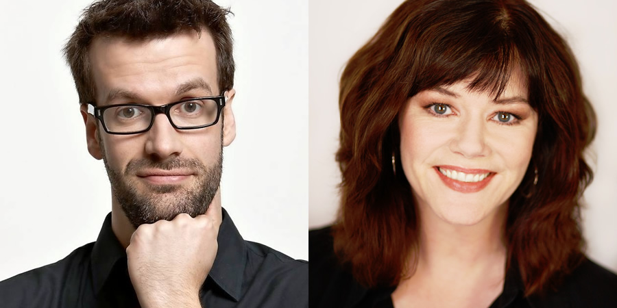 Crash Course. Image shows from L to R: Marcus Brigstocke, Josie Lawrence. Copyright: Pozzitive Productions.