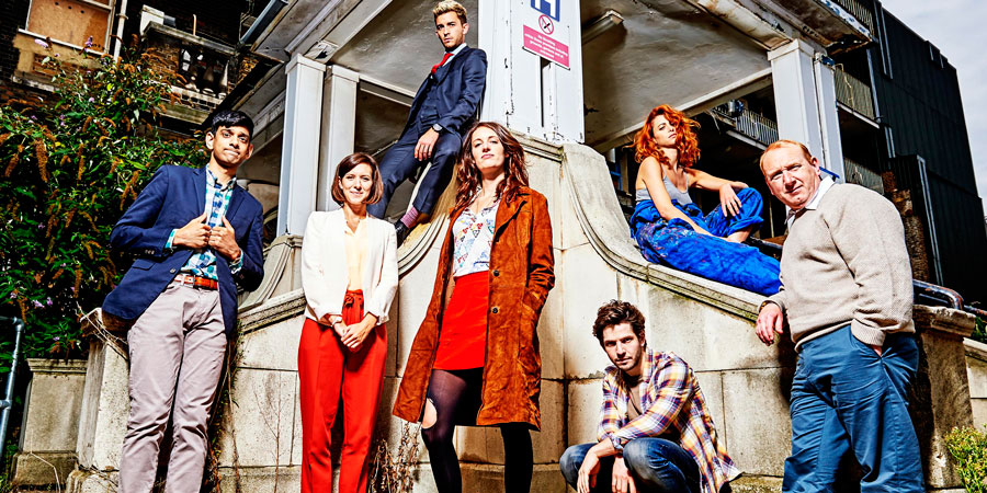 Crashing. Image shows from L to R: Fred (Amit Shah), Kate (Louise Ford), Sam (Jonathan Bailey), Lulu (Phoebe Waller-Bridge), Anthony (Damien Molony), Melody (Julie Dray), Colin (Adrian Scarborough). Copyright: Big Talk Productions.
