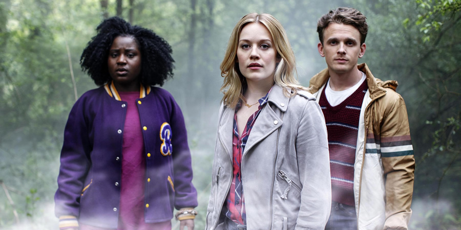 Crazyhead. Image shows from L to R: Raquel (Susan Wokoma), Amy (Cara Theobold), Jake (Lewis Reeves). Copyright: Urban Myth Films.