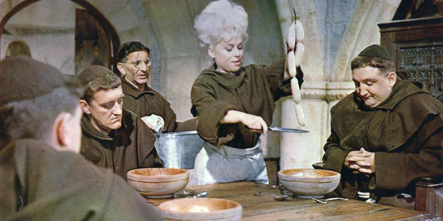 Crooks In Cloisters. Image shows from L to R: Squirts (Bernard Cribbins), Specs (Davy Kaye), Bikini (Barbara Windsor), Walter (Ronald Fraser). Copyright: Associated British Picture Corporation / STUDIOCANAL.