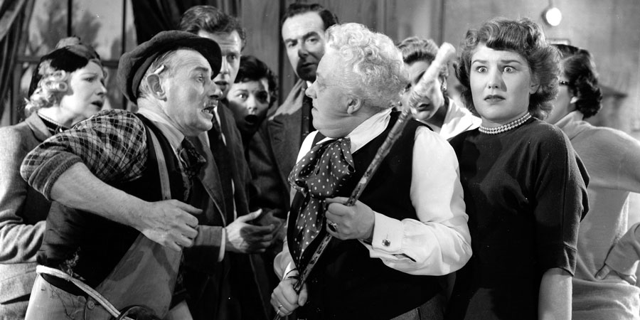 Curtain Up. Image shows from L to R: George (Charles Lamb), Catherine Beckwith (Margaret Rutherford), Daphne (Charlotte Mitchell). Copyright: Rank Organisation / ITV Studios.