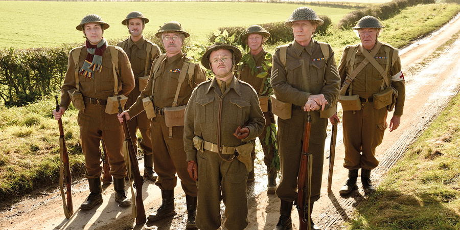 Dad's Army. Image shows from L to R: Private Frank Pike (Blake Harrison), Private Joe Walker (Daniel Mays), Corporal Jack Jones (Tom Courtenay), Captain George Mainwaring (Toby Jones), Private Frazer (Bill Paterson), Sergeant Arthur Wilson (Bill Nighy), Private Godfrey (Michael Gambon). Copyright: Universal Pictures / DJ Films.