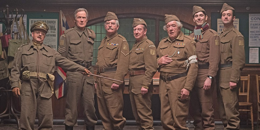 Dad's Army. Image shows from L to R: Captain George Mainwaring (Toby Jones), Sergeant Arthur Wilson (Bill Nighy), Corporal Jack Jones (Tom Courtenay), Private Frazer (Bill Paterson), Private Godfrey (Michael Gambon), Private Frank Pike (Blake Harrison), Private Joe Walker (Daniel Mays). Copyright: Universal Pictures / DJ Films.