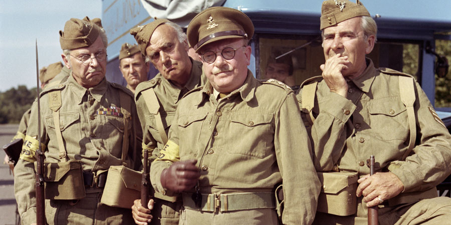 Dad's Army. Image shows from L to R: L/Cpl. Jones (Clive Dunn), Pte. Frazer (John Laurie), Capt. Mainwaring (Arthur Lowe), Sgt. Wilson (John Le Mesurier). Copyright: Norcon Productions.