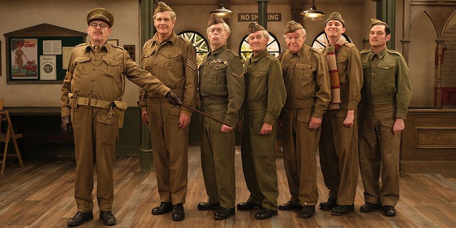 Dad's Army - The Lost Episodes. Image shows from L to R: Captain Mainwaring (Kevin McNally), Sergeant Wilson (Robert Bathurst), Lance Corporal Jones (Kevin Eldon), Private Frazer (David Hayman), Private Godfrey (Timothy West), Private Pike (Tom Rosenthal), Private Frazer (David Hayman). Copyright: UKTV.