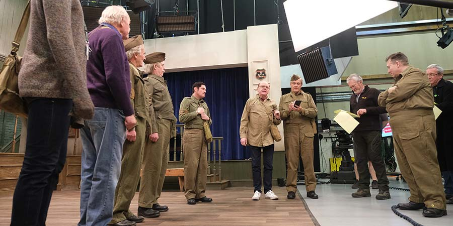 Dad's Army - The Lost Episodes. Image shows from L to R: Private Pike (Tom Rosenthal), Private Godfrey (Timothy West), Private Frazer (David Hayman), Lance Corporal Jones (Kevin Eldon), Private Walker (Mathew Horne), Captain Mainwaring (Kevin McNally), Sergeant Wilson (Robert Bathurst), Unknown, Unknown, Unknown. Copyright: UKTV.
