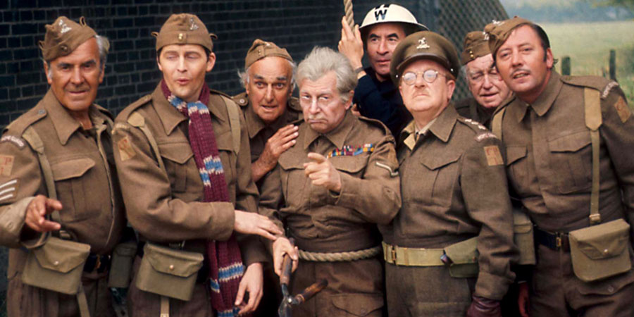 Dad's Army. Image shows from L to R: Sergeant Wilson (John Le Mesurier), Private Pike (Ian Lavender), Private Frazer (John Laurie), Lance Corporal Jones (Clive Dunn), Chief A.R.P. Warden Hodges (Bill Pertwee), Captain Mainwaring (Arthur Lowe), Private Godfrey (Arnold Ridley), Private Walker (James Beck). Copyright: BBC.