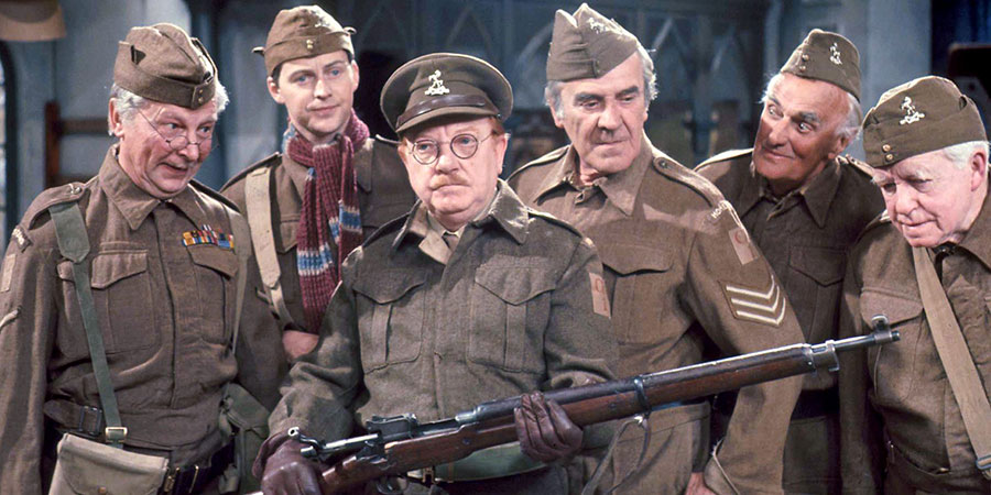 Dad's Army. Image shows from L to R: Lance Corporal Jones (Clive Dunn), Private Pike (Ian Lavender), Captain Mainwaring (Arthur Lowe), Sergeant Wilson (John Le Mesurier), Private Frazer (John Laurie), Private Godfrey (Arnold Ridley). Copyright: BBC.