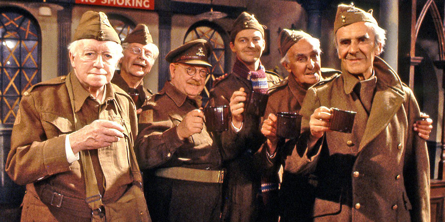 Dad's Army. Image shows from L to R: Private Godfrey (Arnold Ridley), Lance Corporal Jones (Clive Dunn), Captain Mainwaring (Arthur Lowe), Private Pike (Ian Lavender), Private Pike (Ian Lavender), Private Frazer (John Laurie), Sergeant Wilson (John Le Mesurier). Copyright: BBC.