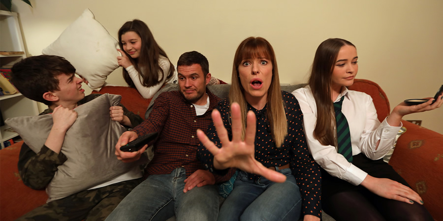 The Daly Grind. Image shows from L to R: Liam (Cameron Wilkie), Lucy (Bea Tena-Hutchinson), Joe (Jordan Young), Tracey (Scarlett Mack), Katlyn (Rachel Doherty). Copyright: BBC.