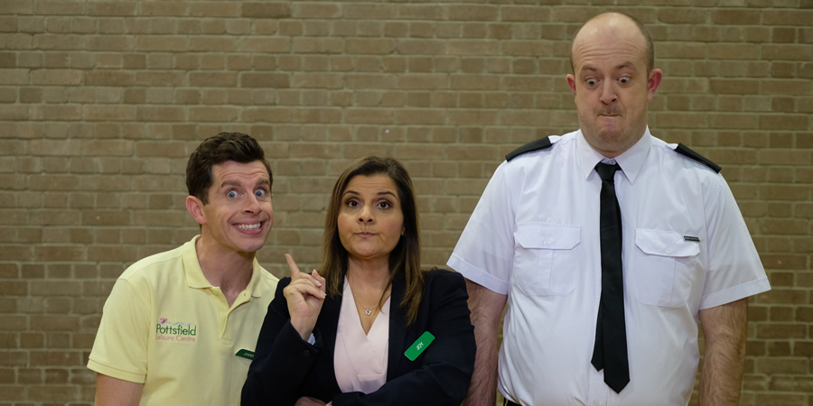 Danny & Mick. Image shows from L to R: Danny (Danny Adams), Joy Stickler (Nina Wadia), Mick (Mick Potts). Copyright: Tiger Aspect Productions.