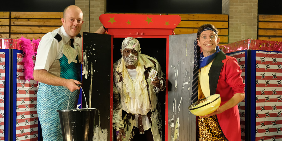 Danny & Mick. Image shows from L to R: Mick (Mick Potts), Walter Whizz (Dave Benson Phillips), Danny (Danny Adams). Copyright: Tiger Aspect Productions.