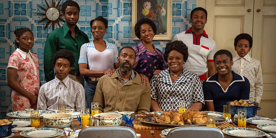 Danny & The Human Zoo. Image shows from L to R: Kascion Franklin, Lenny Henry, Cecilia Noble, Cherrelle Skeeter, Brenton Hamilton, Natasha Gordon, Peter Bankole. Copyright: Red Production Company.