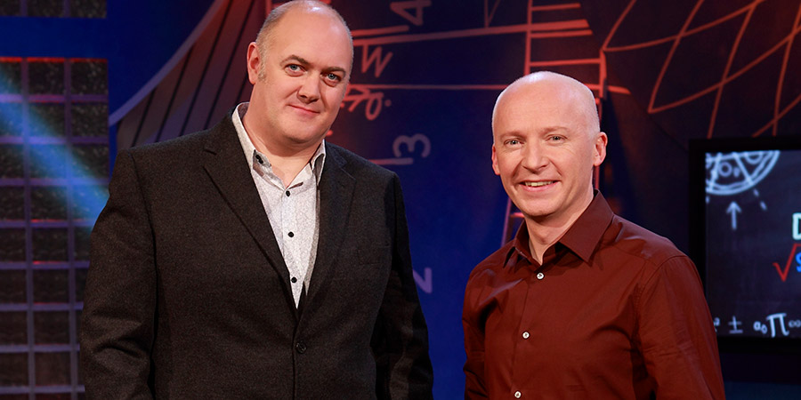 Dara O Briain: School Of Hard Sums. Image shows from L to R: Dara O Briain, Marcus du Sautoy.