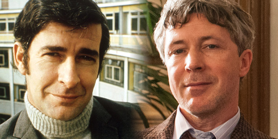 Dave Allen At Peace. Image shows from L to R: Dave Allen, Dave Allen (Aidan Gillen). Copyright: BBC / Two Brothers Pictures.