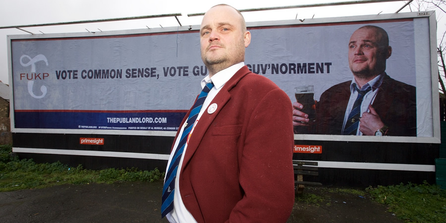 The Pub Landlord v Nigel Farage: The Battle For South Thanet. The Pub Landlord (Al Murray). Copyright: Liberty Bell.