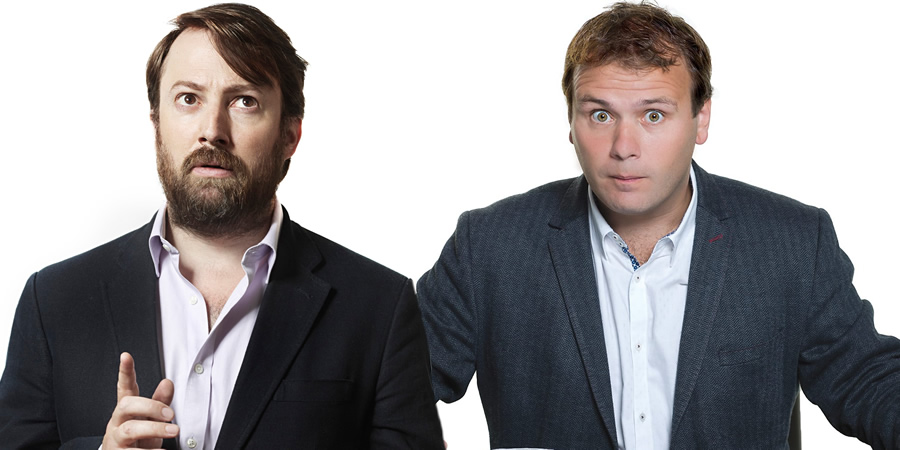 Image shows from L to R: David Mitchell, John Finnemore.