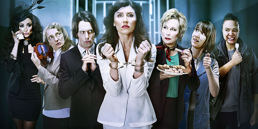 Dead Boss. Image shows from L to R: Mrs Bridges (Emma Pierson), Mary (Amanda Lawrence), Henry (Edward Hogg), Helen Stephens (Sharon Horgan), Governor Margaret (Jennifer Saunders), Christine (Bryony Hannah), Lennie (Golda Rosheuvel). Copyright: BBC.