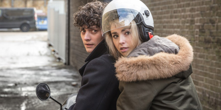 Dead In A Week (Or Your Money Back). Image shows from L to R: William (Aneurin Barnard), Freya Mavor. Copyright: Sprout Pictures.